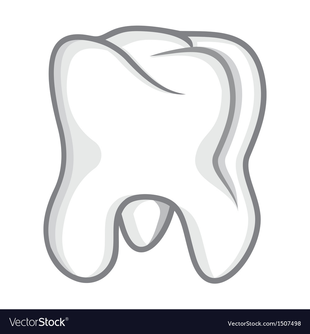 Tooth isolate on white vector | Price: 1 Credit (USD $1)