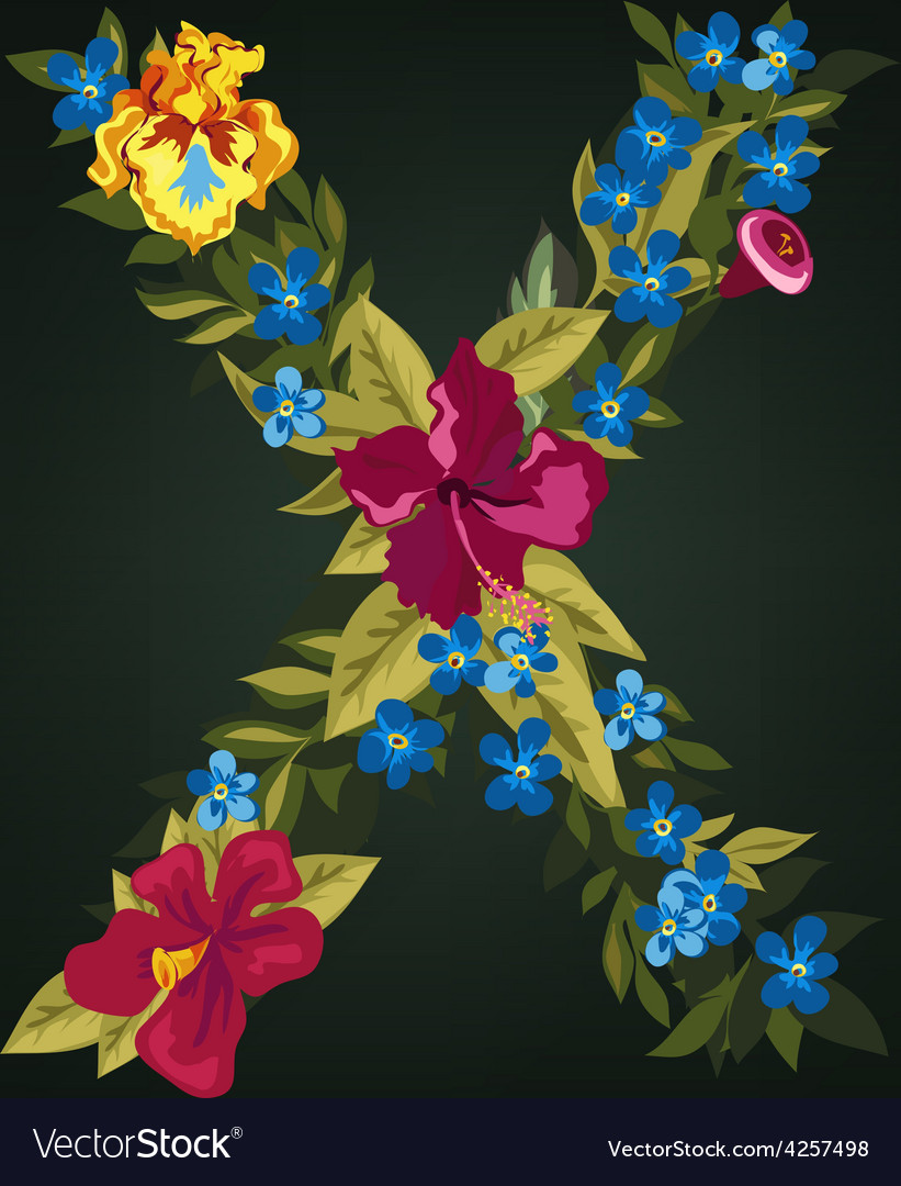 X letter flower capital alphabet colorful font vector | Price: 1 Credit (USD $1)