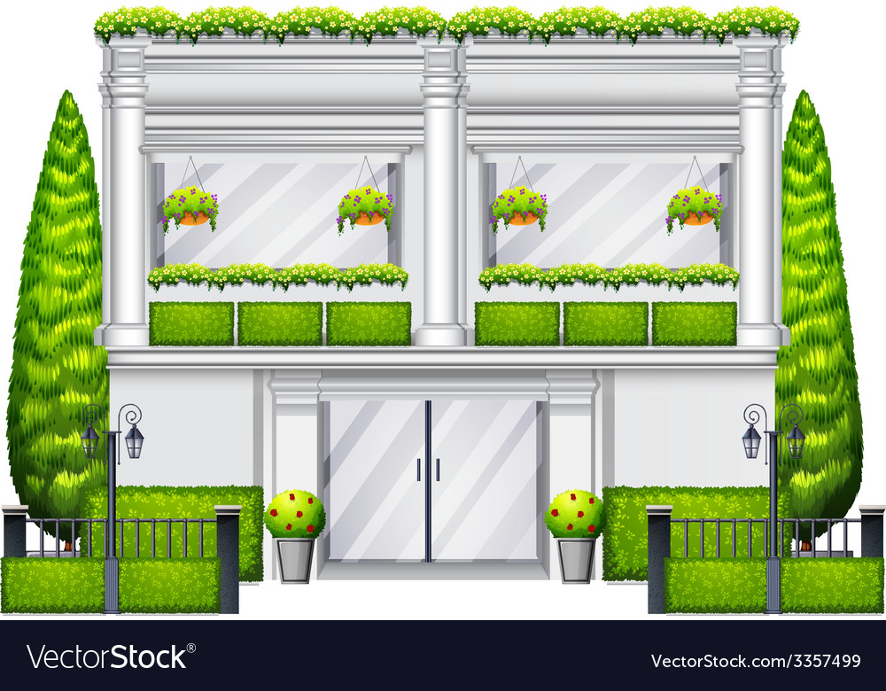 A commercial building with plants vector | Price: 1 Credit (USD $1)