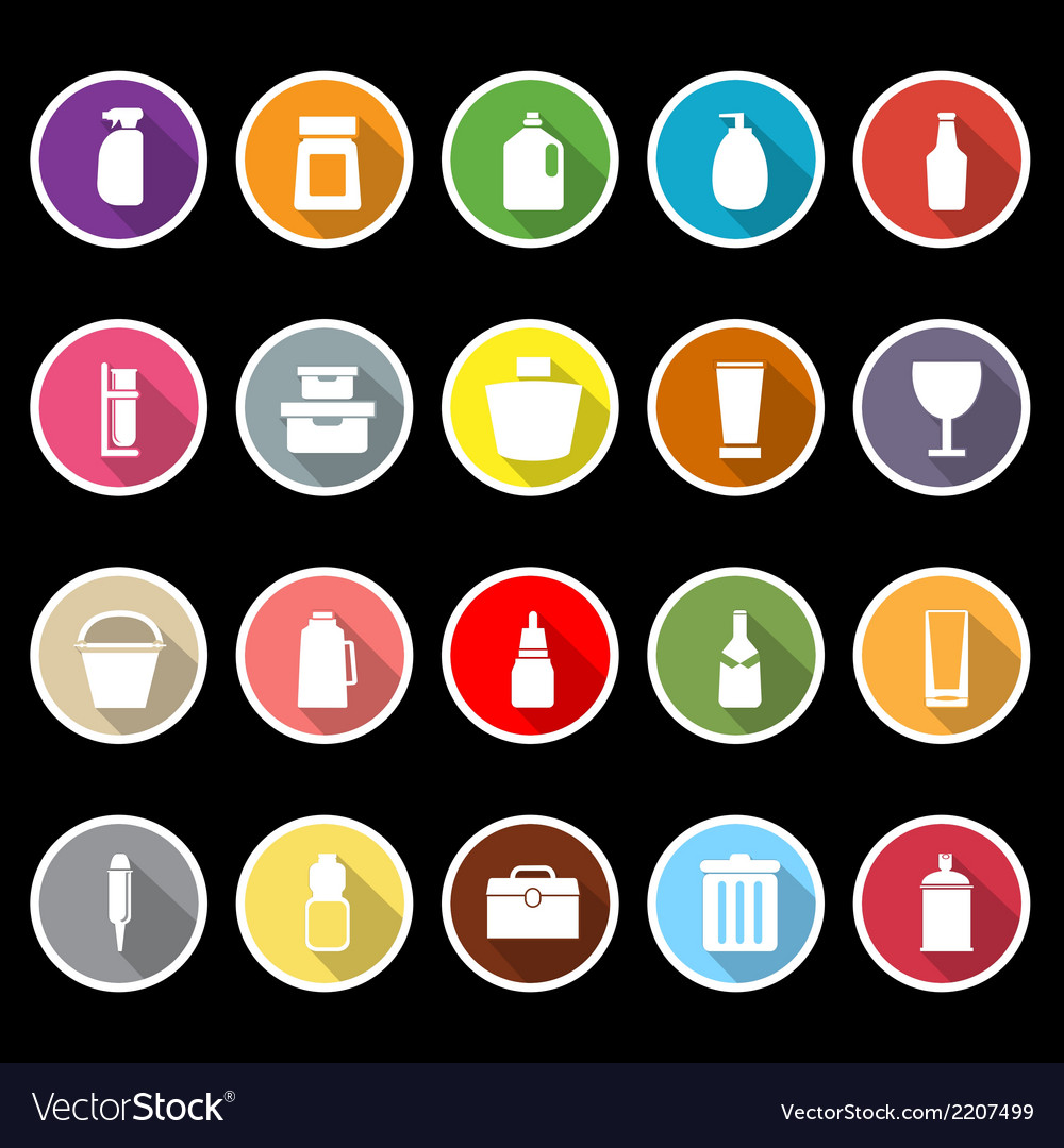 Design package icons with long shadow vector | Price: 1 Credit (USD $1)