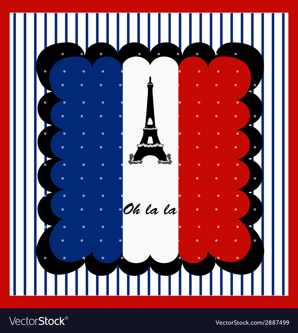 Eiffel tower n the france flag vector | Price: 1 Credit (USD $1)