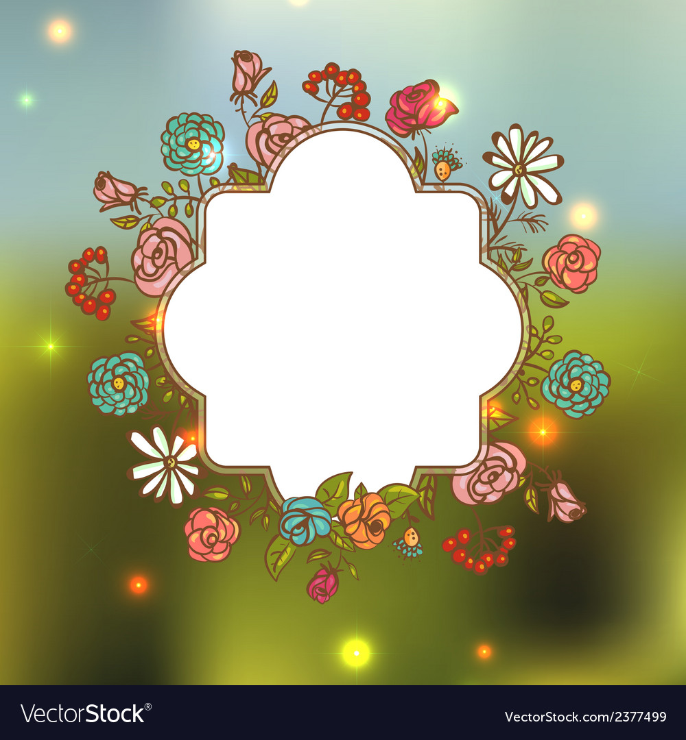 Flower invitation card floral frame with ribbon vector | Price: 1 Credit (USD $1)