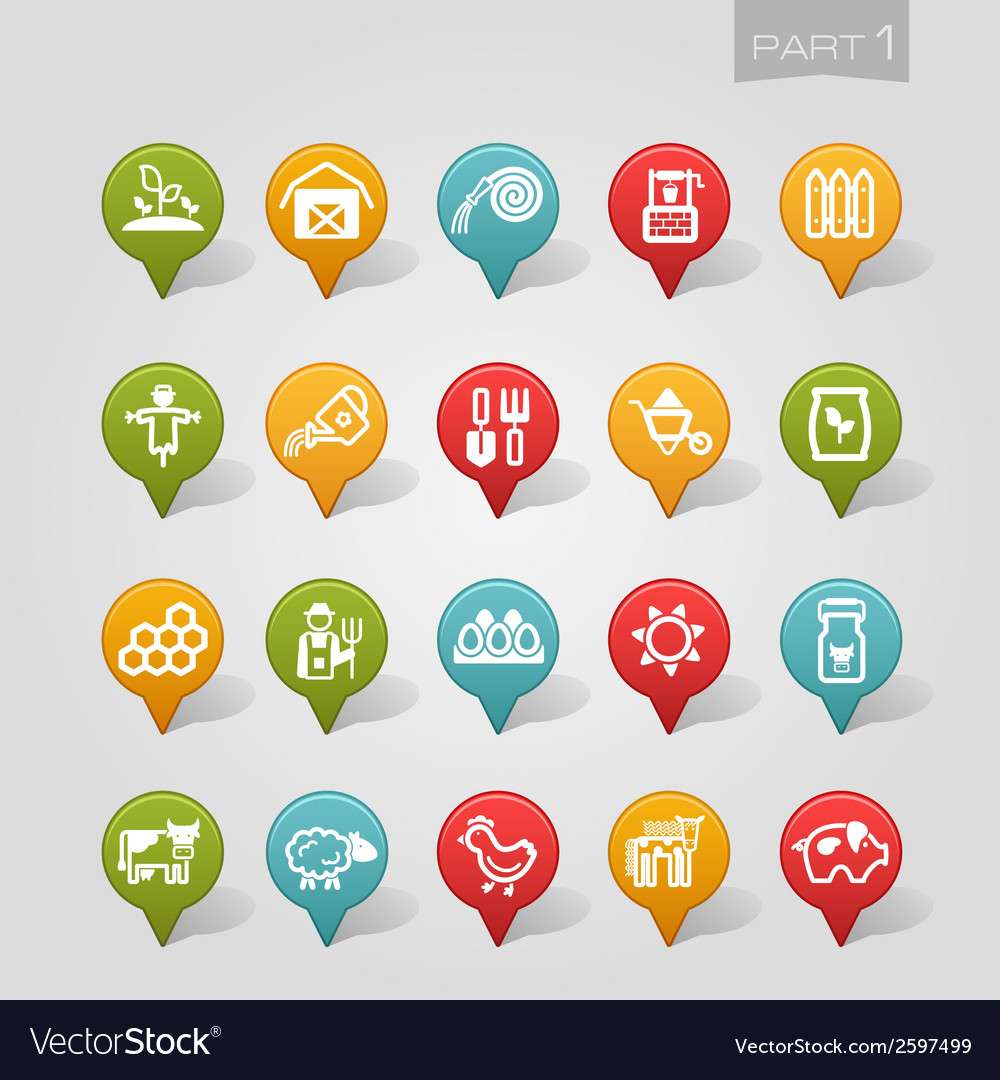 Mapping pins icons farm part 1 vector | Price: 1 Credit (USD $1)
