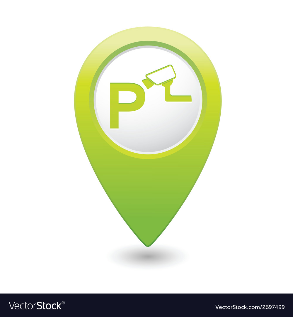 Parking under supervision icon map pointer green vector | Price: 1 Credit (USD $1)