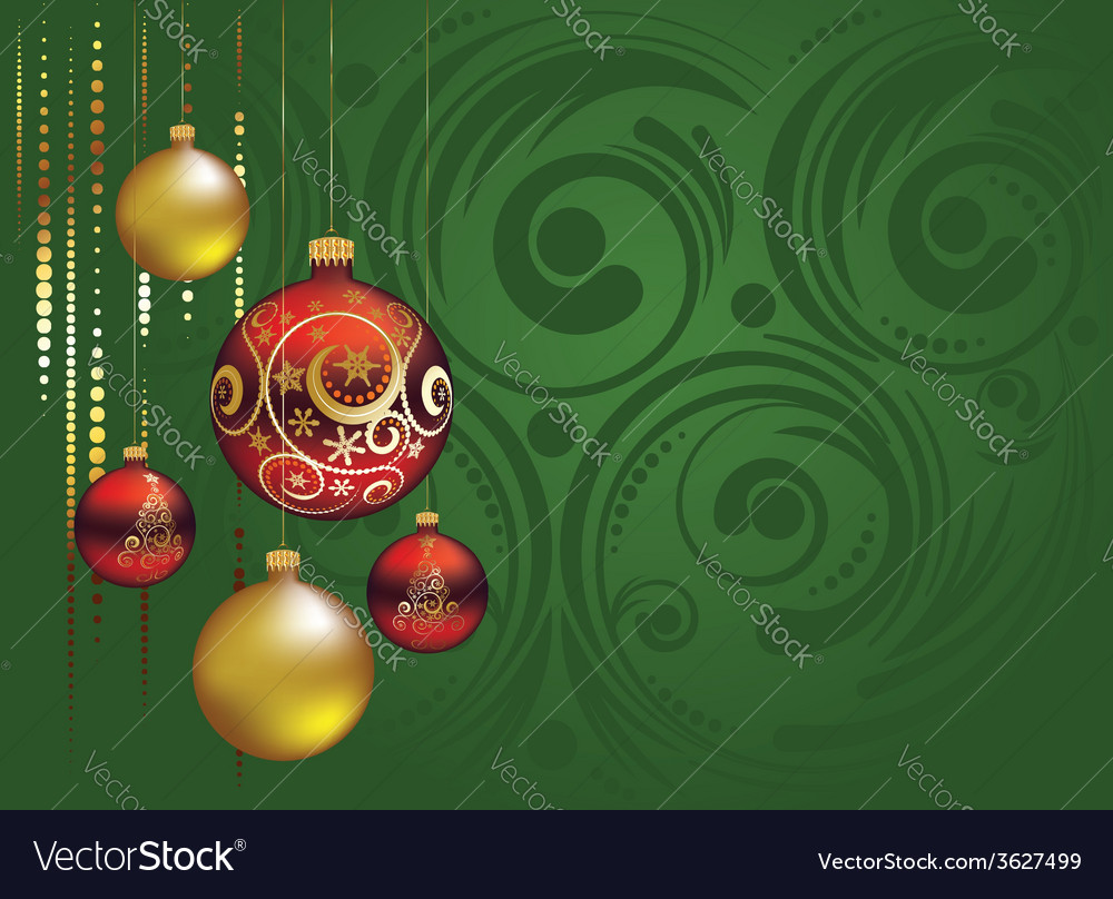 Red and gold christmas balls2 vector | Price: 1 Credit (USD $1)