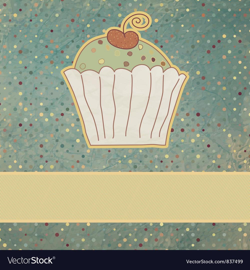 Retro cupcake card vector | Price: 1 Credit (USD $1)