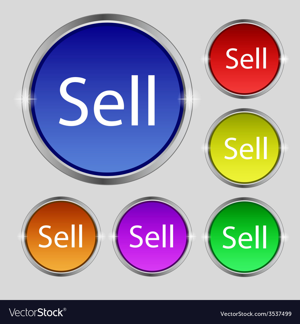 Sell sign icon contributor earnings button set of vector   Price: 1 Credit (USD $1)