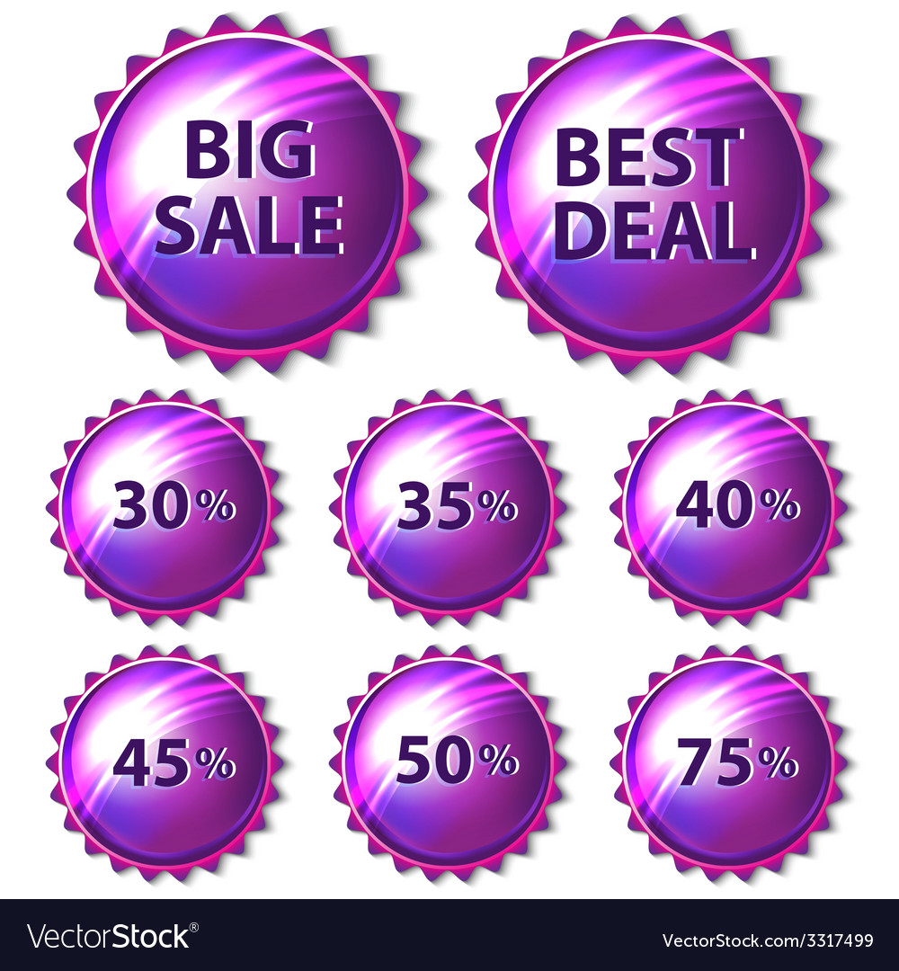 Set of purple stickers on white background vector | Price: 1 Credit (USD $1)