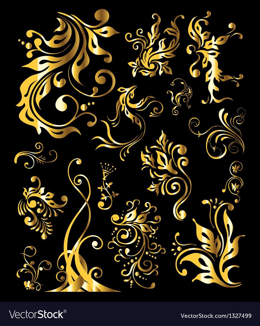 Vintage golden decoration elements vector | Price: 1 Credit (USD $1)