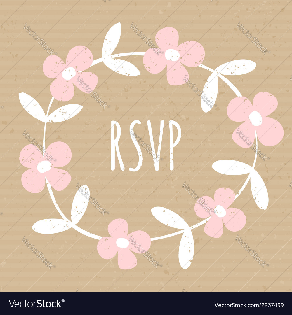 White wreath pink flowers cardboard paper design vector | Price: 1 Credit (USD $1)