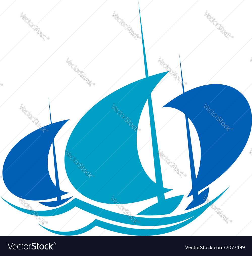 Yachts sailing on blue ocean waves vector | Price: 1 Credit (USD $1)