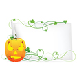 Laughing pumpkin head and a sheet of paper vector
