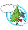 Snowman and christmas tree vector