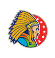 Native american indian headgear side vector