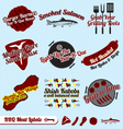 Bbq meat labels vector