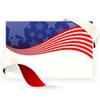 American flag for business cards with ribbon vector