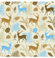 Forest deer background pattern vector