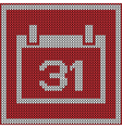 Red calendar icon on wool knitted texture vector