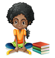 A young black girl sitting beside her books vector