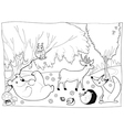 Animals in the wood black and white vector