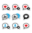 Love speech bubbles with heart icons set vector