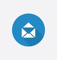Mail flat blue simple icon with long shadow vector