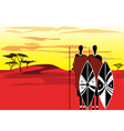 Warriors masai savanna vector
