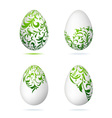 Easter eggs white with floral ornament vector