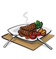Hot beef steak vector