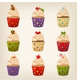 Set of christmas cupcakes vector