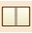 Open notebook with white page on beige background vector