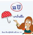 Alphabet worksheet of the letter u vector