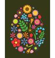 Flowers easter egg vector