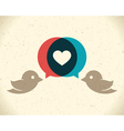 Vintage birds and heart vector