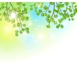 Green leaves tree branches background vector