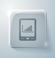Tablet pad with diagram glass square icon vector