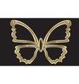 Gold butterfly with diamonds vector