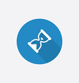 Hourglass flat blue simple icon with long shadow vector