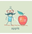 Man listening to music on headphones apple vector