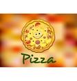 Full round cartoon pizza vector