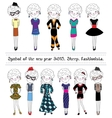 Collection of sheep fashionable characters symbol vector