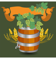 Barrel mug with wheat and hops vector