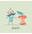 Man eats the big apple vector