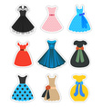 Retro fashion dresses set vector