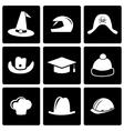 Black helmet and hat icon set vector