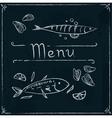 Hand drawn seafood on blackboard vector