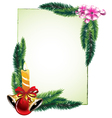 Pine branches and decorations vector
