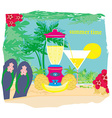 Summer background with palm trees and fruity drink vector