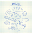 Bakery doodles squared paper vector