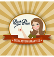 Retro illlustration with a woman and best price vector